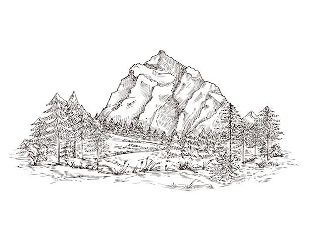 Desenho de paisagem de montanha.