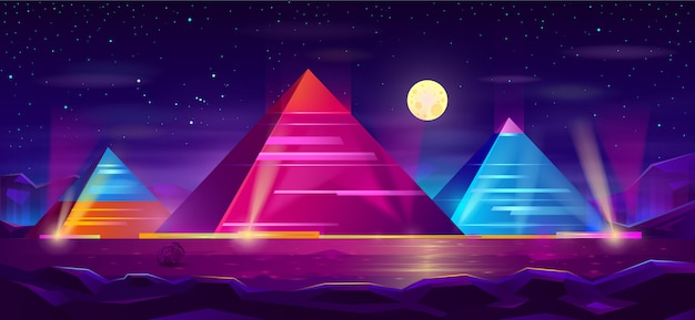 Desenho de paisagem de noite de pirâmides egípcias