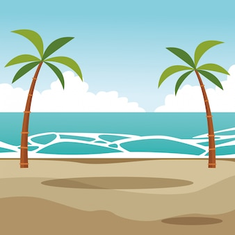 Desenho de paisagem de palmas de praia Vetor Premium
