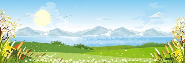 Desenho de paisagem de primavera com montanha, céu azul e nuvens