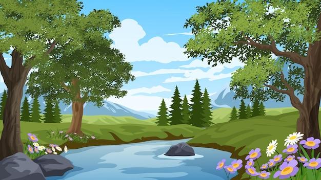 Desenho de paisagem de primavera com rio
