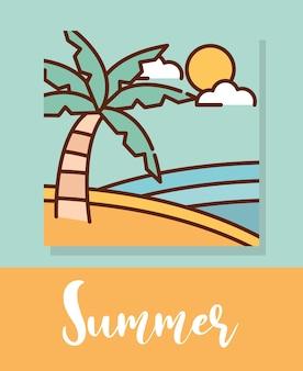 Desenho de paisagem de verão tropical praia de palma, ilustração em vetor linha preenchida
