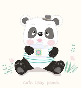 Desenho de panda pequeno bonito com câmera