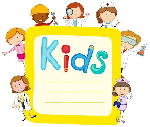 Desenho de papel com crianças e ocupações