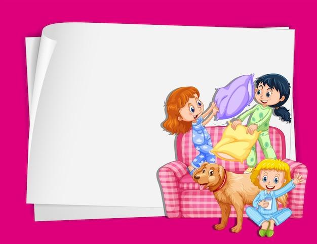 Desenho de papel com meninas de pijama