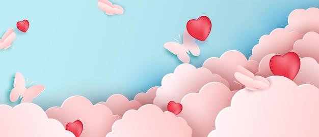 Desenho de papel cortado, nuvens de papel com borboletas. nuvem rosa e fundo azul.