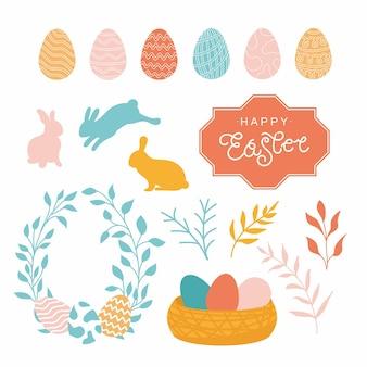 Desenho de páscoa com ilustração vetorial de coelhos e ovos isolados