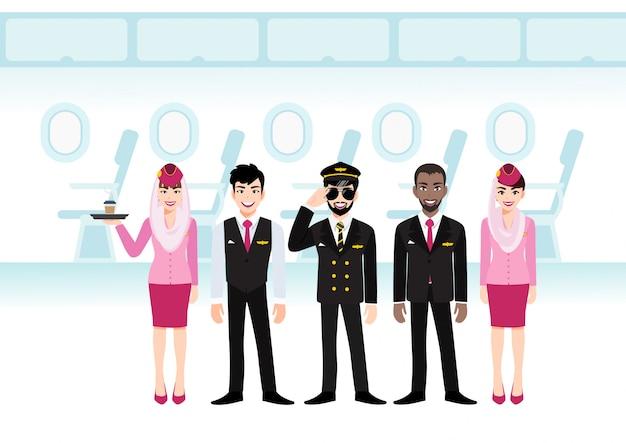Desenho de passageiro a jato no voo do assento. linha de assentos de aeronaves na cabine e equipe profissional de companhias aéreas muçulmanas de uniforme