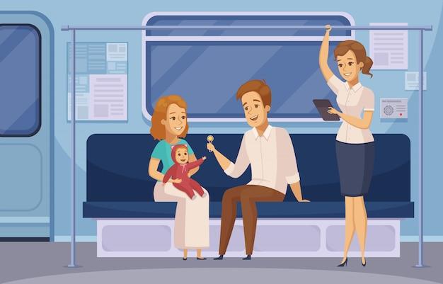 Desenho de passageiros de metrô de metrô