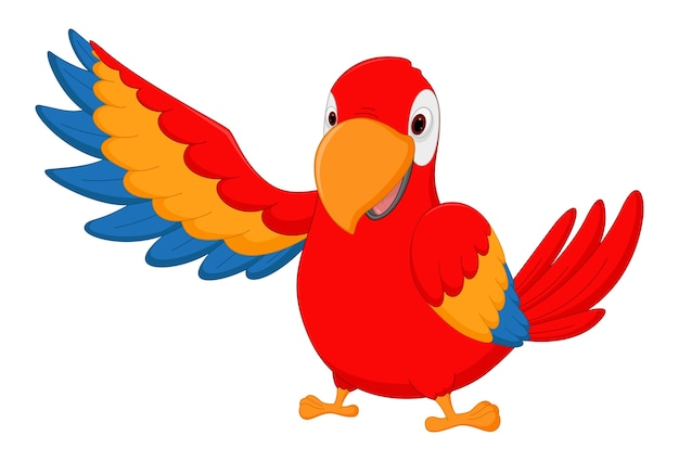 Desenho de pássaro arara feliz