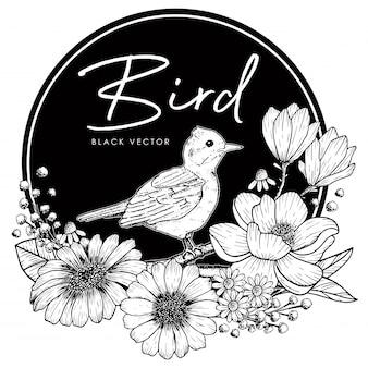 Desenho de pássaro, decoração com ilustração botânica de flores preto