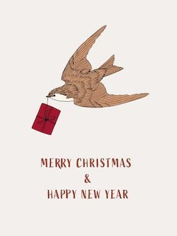 Desenho de pássaro desenhado à mão com caixa de presente cartão postal de convite de natal e ano novo