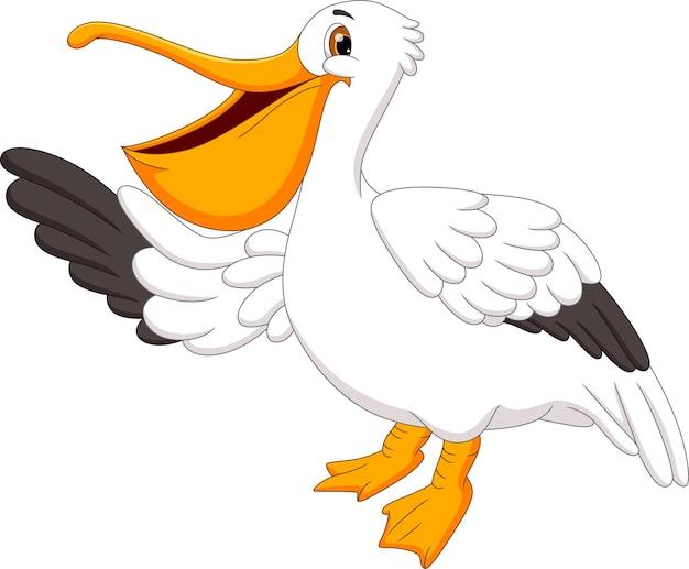 Desenho de pássaro pelicano em branco