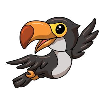 Desenho de pássaro tucano fofo voando