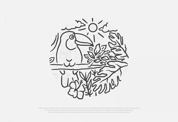 Desenho de pássaro tucano premium com estilo de linha