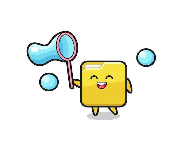 Desenho de pasta feliz jogando bolha de sabão, design de estilo fofo para camiseta, adesivo, elemento de logotipo