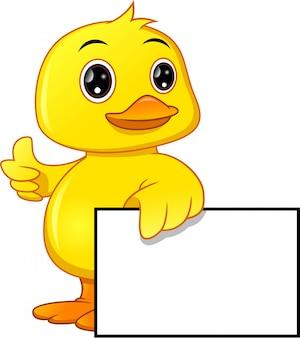 Desenho de pato bebê fofo e sinal em branco