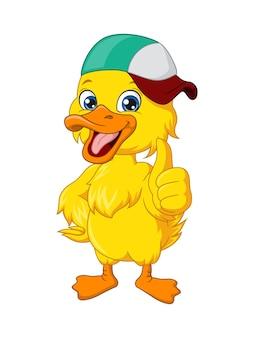 Desenho de pato fofo com chapéu desistir do polegar