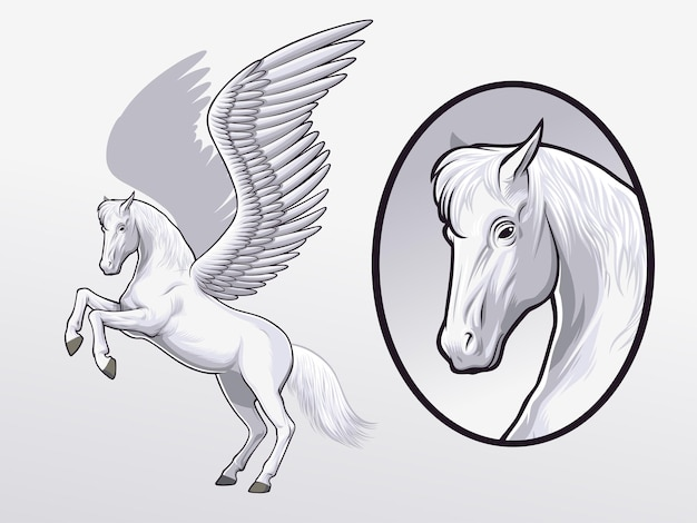 Desenho de pegasus para ilustração e elemento de design