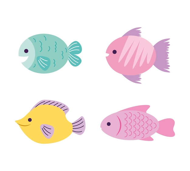 Desenho de peixes isolado sobre fundo branco