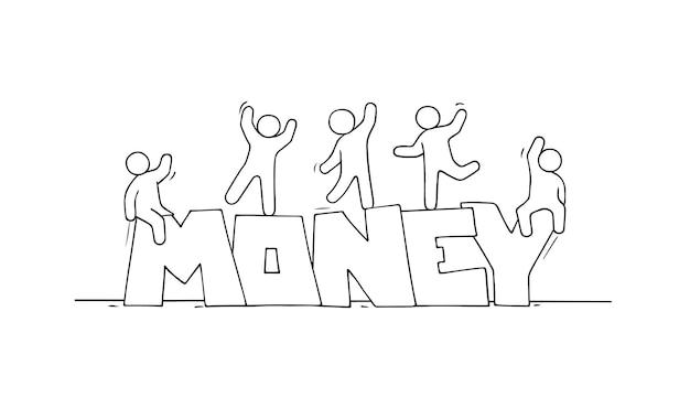 Desenho de pequenas pessoas com a palavra dinheiro.