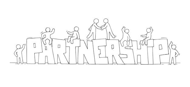 Desenho de pequenas pessoas com a palavra parceria. doodle uma cena em miniatura fofa sobre o trabalho em equipe. mão-extraídas ilustração vetorial dos desenhos animados.