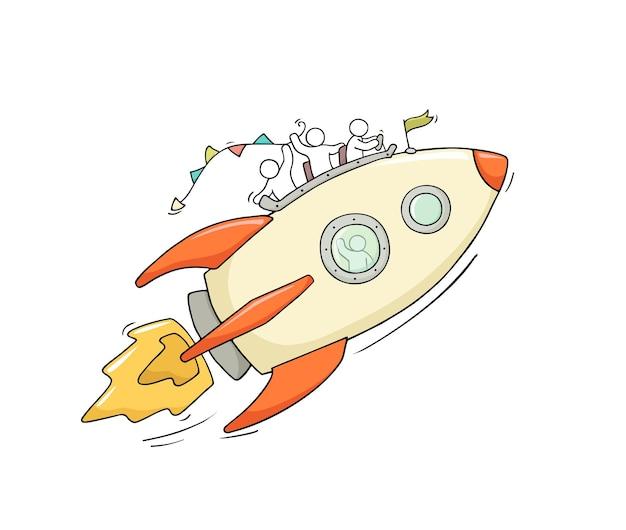 Desenho de pequenas pessoas com foguete voador.