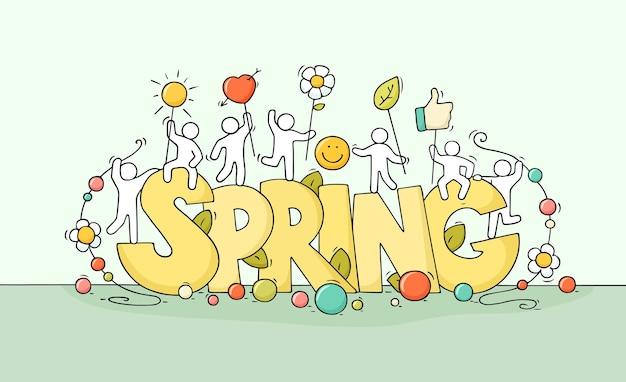 Desenho de pequenas pessoas com grande palavra primavera. doodle uma cena em miniatura bonita sobre a natureza com símbolos de vida. mão-extraídas ilustração vetorial dos desenhos animados para mídia social e design sazonal.