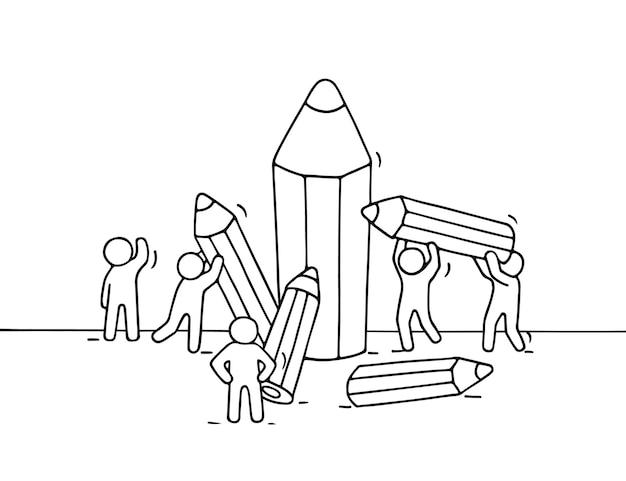 Desenho de pequenas pessoas com lápis. doodle miniatura fofa com trabalhadores e artigos de papelaria. desenho animado desenhado à mão