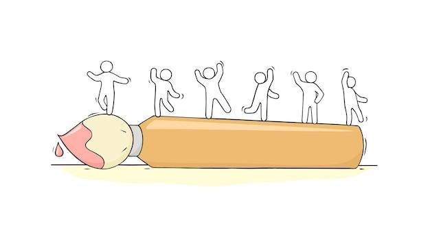 Desenho de pequenas pessoas em pé sobre a ilustração do pincel