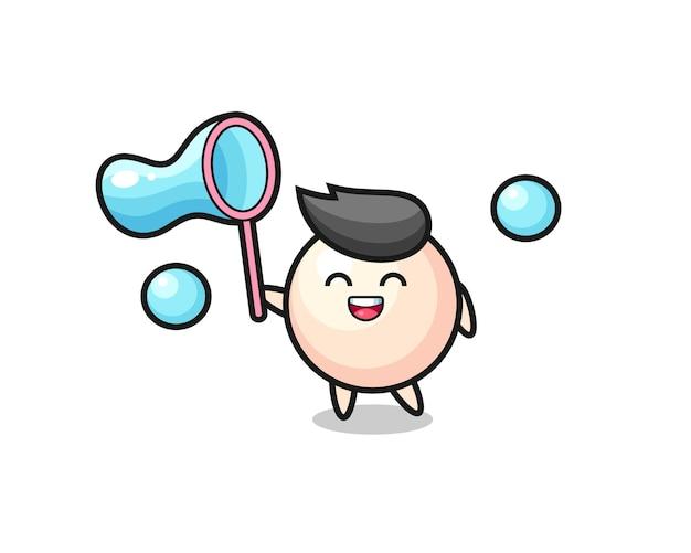 Desenho de pérola feliz jogando bolha de sabão, design de estilo fofo para camiseta, adesivo, elemento de logotipo