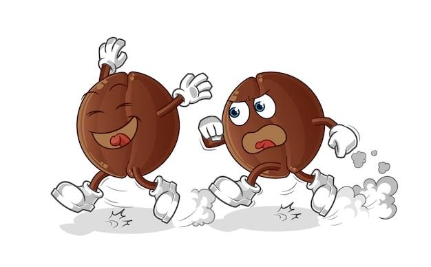 Desenho de perseguição de jogo de feijão de café. mascote dos desenhos animados