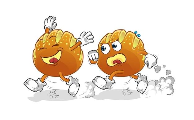 Desenho de perseguição de jogo de pão. mascote dos desenhos animados