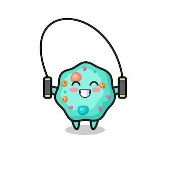 Desenho de personagem ameba com corda de pular, design de estilo fofo para camiseta, adesivo, elemento de logotipo