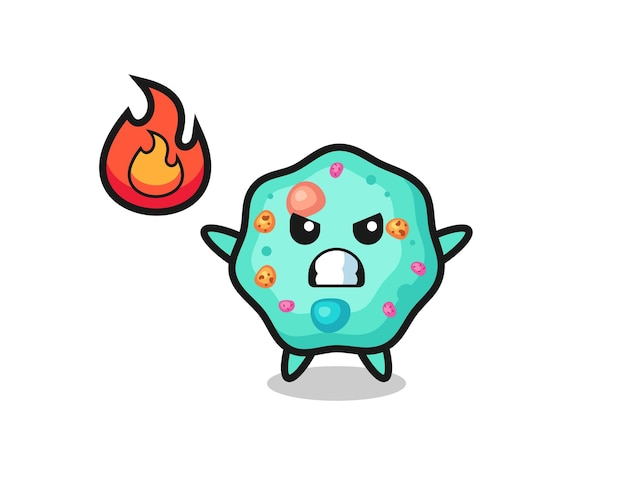 Desenho de personagem ameba com gesto de raiva, design de estilo fofo para camiseta, adesivo, elemento de logotipo