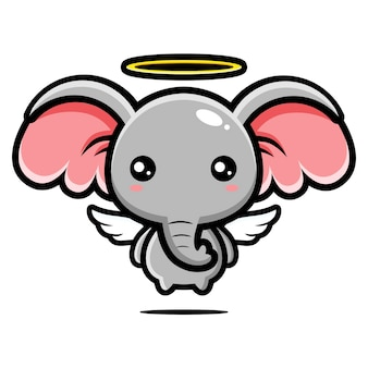 Desenho de personagem anjo elefante fofo