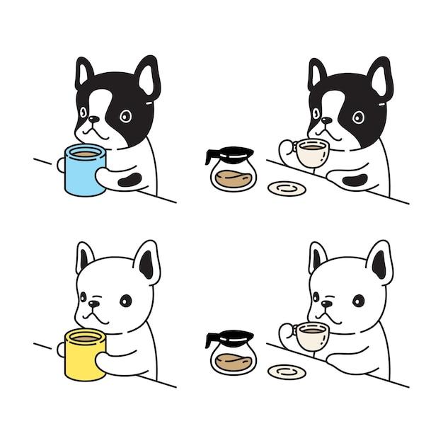 Desenho de personagem bulldog francês xícara de café bule chá