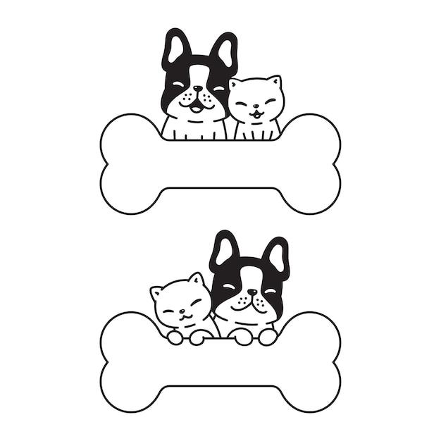 Desenho de personagem cachorrinho de brinquedo com osso de buldogue francês