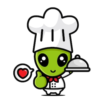 Desenho de personagem chef alienígena fofo