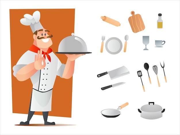 Desenho de personagem chef e utensílios de cozinha Vetor Premium