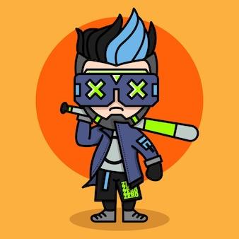 Desenho de personagem chibi de jogador de beisebol cyberpunk fofo