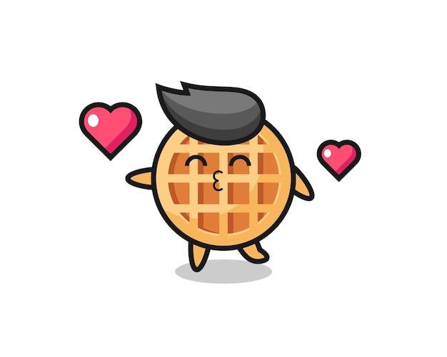 Desenho de personagem círculo waffle com gesto de beijo, design fofo