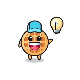 Desenho de personagem círculo waffle tendo a ideia, design fofo