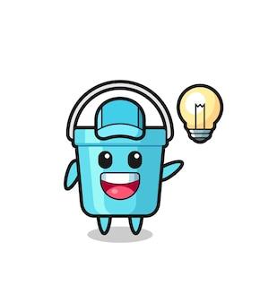 Desenho de personagem de balde de plástico tendo a ideia, design de estilo fofo para camiseta, adesivo, elemento de logotipo
