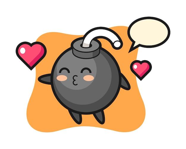 Desenho de personagem de bomba com gesto de beijo