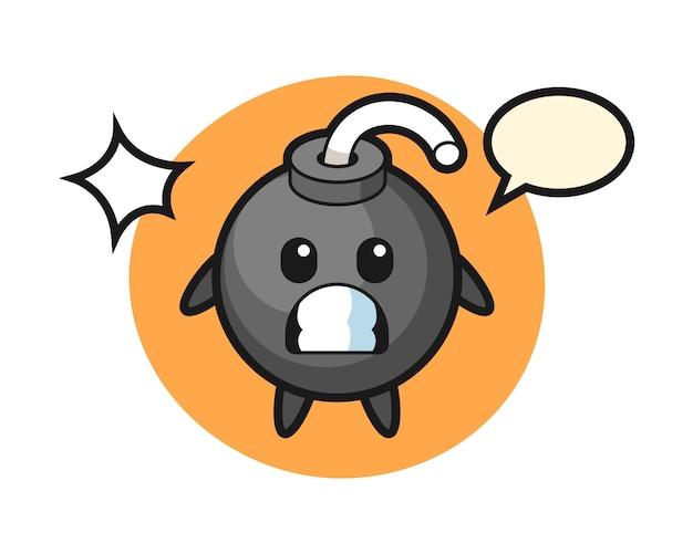 Desenho de personagem de bomba com gesto de choque