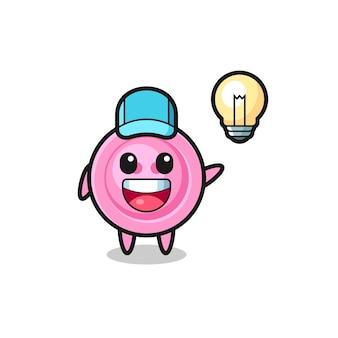 Desenho de personagem de botão de roupas tendo a ideia, design fofo