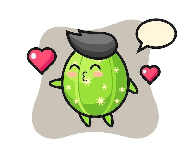 Desenho de personagem de cacto com gesto de beijo