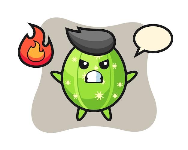 Desenho de personagem de cacto com gesto de raiva