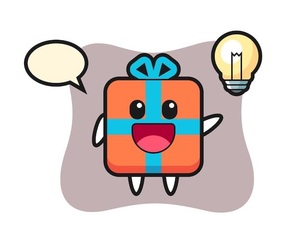 Desenho de personagem de caixa de presente tendo a ideia